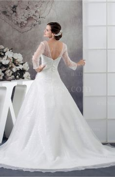 White Long Sleeve Wedding Dress with Sleeves Sheer Plus Size Mature Petite Fall - iFitDress.com