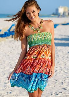Multi (MU) Convertible Bandeau Dress $37   Rich, vibrant colors that celebrate summer! ·  Sizes S (2-4), M (6-8), L (10-12)     ·  Smocked bodice may be pulled to the waist to go from dress to skirt     ·  A must-have for your next cruise or vacation     ·  100% Cotton     ·  Imported