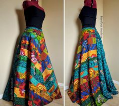 Carefree Muse - Long, Bright African Patchwork Skirt, Ooak Ethnic Bohemian chic, Rich colors, can fit sizes - S to XL     So love this
