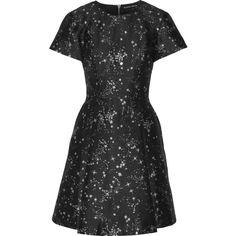 Markus Lupfer Constellation Irena jacquard mini dress ($635) ❤ liked on Polyvore featuring dresses, loose fitting mini dress, zipper mini dress, mini dress, jacquard dress and short dresses