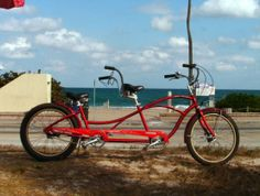"""Skip the car and rent a tandem bike for your """"Just Married"""" send off. $35/day."""