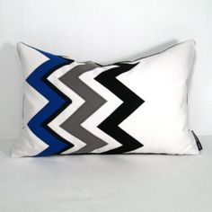 Black White Pillow Cover - Grey Blue Outdoor Cushion - Decorative Chevron Zig Zag - Modern Cobalt Royal Olympian - Pacific Sunbrella 12 X 18