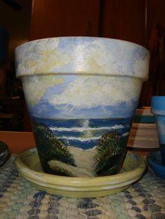 By the ocean waves flower pot   ~by Cheryl Henderson Harry