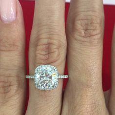 Round Center Stone + Cushion Halo + Diamond Band Diamond Bands, Halo Diamond, Tiffany Sale, Cushion Halo, Engagement Rings, Stone, Unique, Instagram Posts, Jewelry