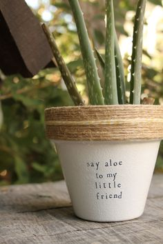 """This listing is for one 4 hand decorated terracotta pot with the phrase from Scarface Say Aloe to my Little Friend"""" Hooray puns! These pots are a perfect addition to your home, office, friends house, mothers kitchen or anywhere you can put a pun on it! Brighten your day and windowsill with these hand decorated pots made out of a home workshop in East Los Angeles. » Pot does not include plant » The height and diameter of the pot are 4 inches » All pots are sealed with an earth safe finish…"""
