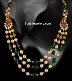 Emerald Beads and South Sea pearls Mala - Indian Jewellery Designs Pearl Necklace Designs, Jewelry Design Earrings, Gold Earrings Designs, Emerald Jewelry, Gold Jewellery Design, Gold Jewelry, Beaded Jewelry, India Jewelry, Bead Jewellery