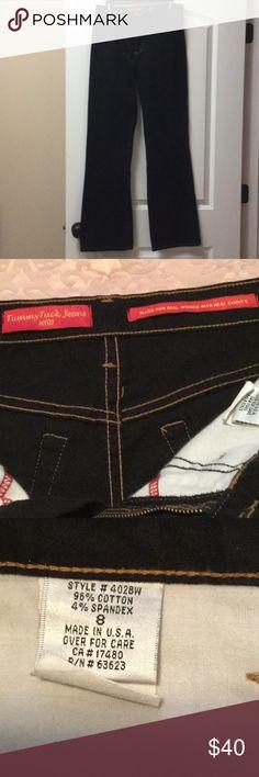 "NYDJ Tummy Tuck boot cut jeans NWOT NYDJ Tummy Tuck boot cut dark indigo jeans.  96%. Cotton & 4% spandex.  Waist w/o stretching 32"", hips: 39"", inseam: 32.5"".  NWOT - Never worn. NYDJ Jeans Boot Cut"