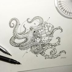 Geometric Beasts | Octopus  by kerbyrosanes