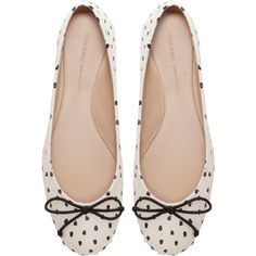 Zara Polka Dot Ballerina Shoes ($30) ❤ liked on Polyvore featuring shoes, flats, sapatos, sapatilhas, multicolour, multi colored ballet flats, zara flats, leather flats, ballet flats and flat shoes