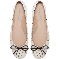 Zara Polka Dot Ballerina Shoes ($50) ❤ liked on Polyvore