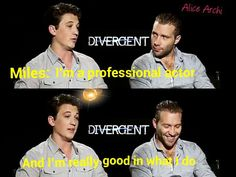 Hahahah Miles Teller is so funny Jai Courtney is laughing too