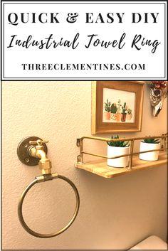 DIY Industrial Towel Ring #bathroomdecor #industrial #towelring #diy