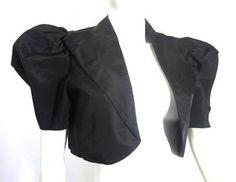 Chic Black Taffeta Puff Sleeve Bolero Jacket circa 1930s - Dorothea's Closet Vintage