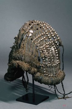 Shabbka Oman. Leather silver and coral Shabbka headdress worn by young girls Oman late 19th early 20th c