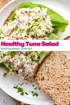 This recipe for Healthy Tuna Salad is lightened up by using greek yogurt instead of mayonnaise; it has less calories and less fat, but is still so flavorful | Tuna Salad | Healthy Tuna | Lunch Ideas | Sandwiches | Salads Best Salad Recipes, Lunch Recipes, Seafood Recipes, Indian Food Recipes, Healthy Tuna Sandwich, Healthy Tuna Salad, Vegan Recipes Easy Healthy, Healthy Living Recipes, Healthy Food
