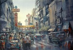 "Direk Kingnok Watercolor artist  - "" The evening, Bangkok Chinatown"" Watercolor , 67 x 97 cm."