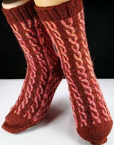 Ravelry: AlohaBlu's Triple Cable Socks in Red/Pink