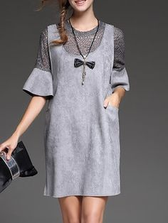 Gray Two Piece Lace Paneled Pierced Bell Sleeve Midi Dress