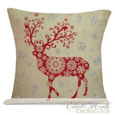 Holiday Pillow Cover Christmas Sparkle Glitter Snowflake Deer  French Style Burlap Cotton Throw Pillow