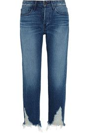 Distressed high-rise boyfriend jeans