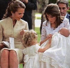 Miss Honoria Glossop:  Infanta Elena with Infanta Leonor and Infanta Letizia holding Infanta Sofia at Sofia's christening, July 15, 2007