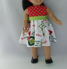 18 Inch Doll Clothes Grinch Holiday Dress by DollFashionsbyAlthea