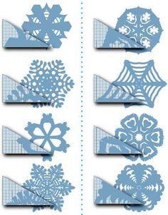 copos de nieve de papel-corte-instrucción