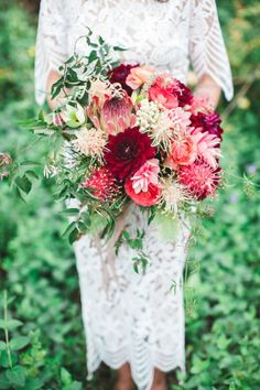 Exotic bloom bouquet: http://www.stylemepretty.com/2015/09/21/beautifully-bohemian-northwest-wedding-details/