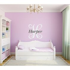 Personalized Girl Vine Monogram Wall Decal Name Initial Wall Vinyl... ($28) ❤…