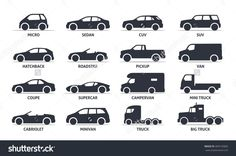 Car Type And Model Objects Icons Set Vector Black Ilration Isolated On White Background With Shadow Variants Of Automobile Body Silhouette For Web