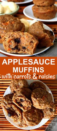 Applesauce Muffins are the perfect and easy breakfast or snack. They also happen to be healthy carrot muffins with raisins. That's right! They're egg-free, dairy-free, and vegan and the sweetness is just right. #healthyapplesaucemuffins #easyappleasucemuffins #carrotapplesaucemuffins #veganapplesaucemuffins Fast Dinner Recipes, Fall Dessert Recipes, Vegan Recipes Easy, Breakfast Recipes, Quick Recipes, Healthy Carrot Muffins, Applesauce Muffins, Vegan Comfort Food, Finger Food Appetizers