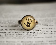 Handmade Skyrim Dark Brotherhood Mysterious Note in a glass cabochon dome Adjustable Ring $12.50