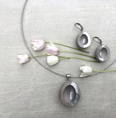 Concrete jewelry set Nativity silver pendant and