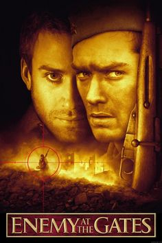 Enemy at the Gates is a 2001 war film directed by Jean-Jacques Annaud, starring Joseph Fiennes, Jude Law, Rachel Weisz, Bob Hoskins and Ed Harris set during the Battle of Stalingrad in World War II. Streaming Movies, Hd Movies, Movies To Watch, Movies Online, Movies And Tv Shows, Movies Free, Romance Movies, Movies 2019, Joseph Fiennes