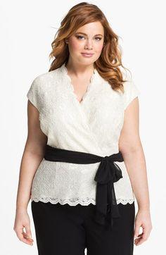 Stefanie's wedding?? Alex Evenings Lace Surplice Blouse (Plus Size) available at #Nordstrom