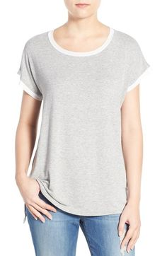 Bobeau Mesh Trim Short Sleeve Tee available at #Nordstrom