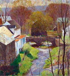 Daniel Garber (American, 1880-1958) > Springtime on Carversville   oil on canvas 30 1/8 x 28 ¼ in