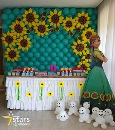 Ontem a mamae @louisevaltuille preparou um dia perfeito para Sttela. Belissimo… Frozen Decorations, Girl Birthday Decorations, Diy Party Decorations, Balloon Decorations, Disney Frozen Party, Frozen Theme, Frozen Birthday Party, 3rd Birthday, Sunflower Birthday Parties