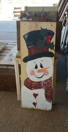 Christmas Snowman, Christmas Stuff, Christmas Crafts, Christmas Decorations, Christmas Ornaments, Snowmen Pictures, Palette, Wooden Snowmen, Porch Signs