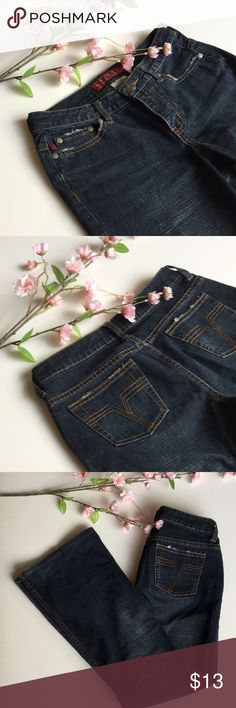 """Flare Jeans Great condition! These are super comfy and a great dark wash. These have been hemmed to a 28"""" inseam. 14"""" waist. I think the thighs are pretty roomy so I wanted to add he measurement 10.5"""". 9.5"""" flare. These are not my size anymore. Celebrity pic is for style inspo only. Smoke free and pet free home. Thanks for stopping by! Bundle 2 or more and save 10%! YMI Jeans Flare & Wide Leg"""