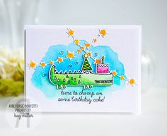 Card by Kay Miller. Reverse Confetti stamp sets: Later Alligator and Monkey Business. Confetti Cuts: Later Alligator, Monkey Business and Star Garland. Birthday card.
