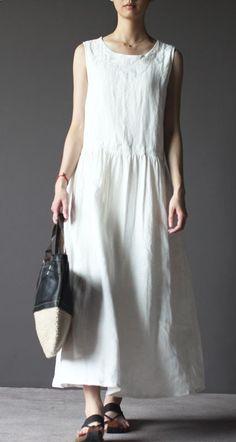 White linen sundress vintage long linen summer dresses linen clothing
