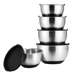 Mixing Bowls Set XChef Professional Stainless Steel Mixing Bowls With Lids Measurement LinesSet of 5 *** Click image to review more details.