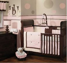 Modern Pink and Brown Baby Girl Nursery Crib Bedding Set in Pink and Chocolate Brown with ABC Wall Letters and Polka Dot Decorations: I don't believe that there are any hard and fast modern girl nursery rules for decorating. It's just as acceptable to decorate in pink as it is in any
