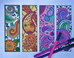 Paisley Bookmarks - Printable Bookmark Coloring Page - Zentangle Inspired - Digital Download - Bookmark Number 3 Paisley