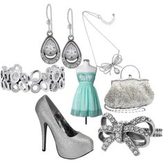Ice blue dress with silver accessories (Brighton Jewelry- I'm obsessed with the ballroom blitz ring!!)