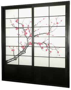 Cherry Blossom Shoji Sliding Door Kit #EasyPin