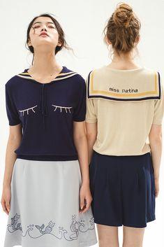 Flitter Flutter Top (Navy) - Miss Patina - Vintage Inspired Fashion