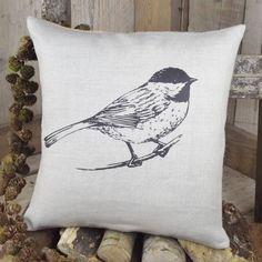 Coal Tit Linen Cushion