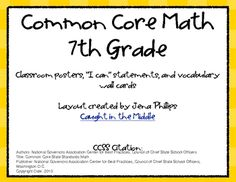 This free download contains 9 color posters with the 7th grade CCSS